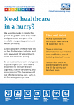 Survey Into Urgent Care Services In Sheffield
